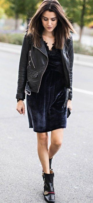 #winter #fashion / Black Leather Jacket // Velvet Dress // Leather Booties