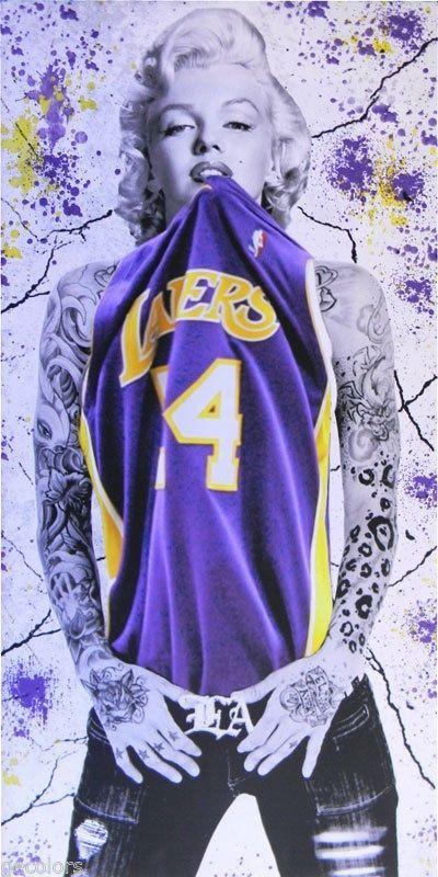 6b48f8343b8 Marilyn Monroe Los Angeles Basketball Fan Canvas Print Art 8X24 ...