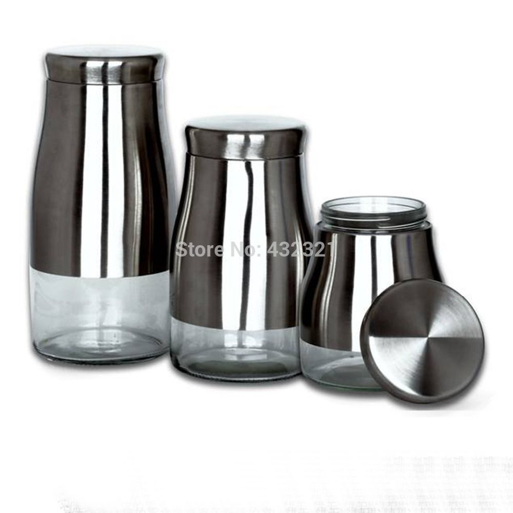 3 Piece Set Glass & Stainless Steel Storage Jar For Kitchen Inspiration Kitchen Jar Set 2018