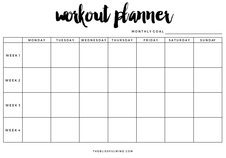 How To Set Achieve Your Fitness Goals Free Workout Planner Printable