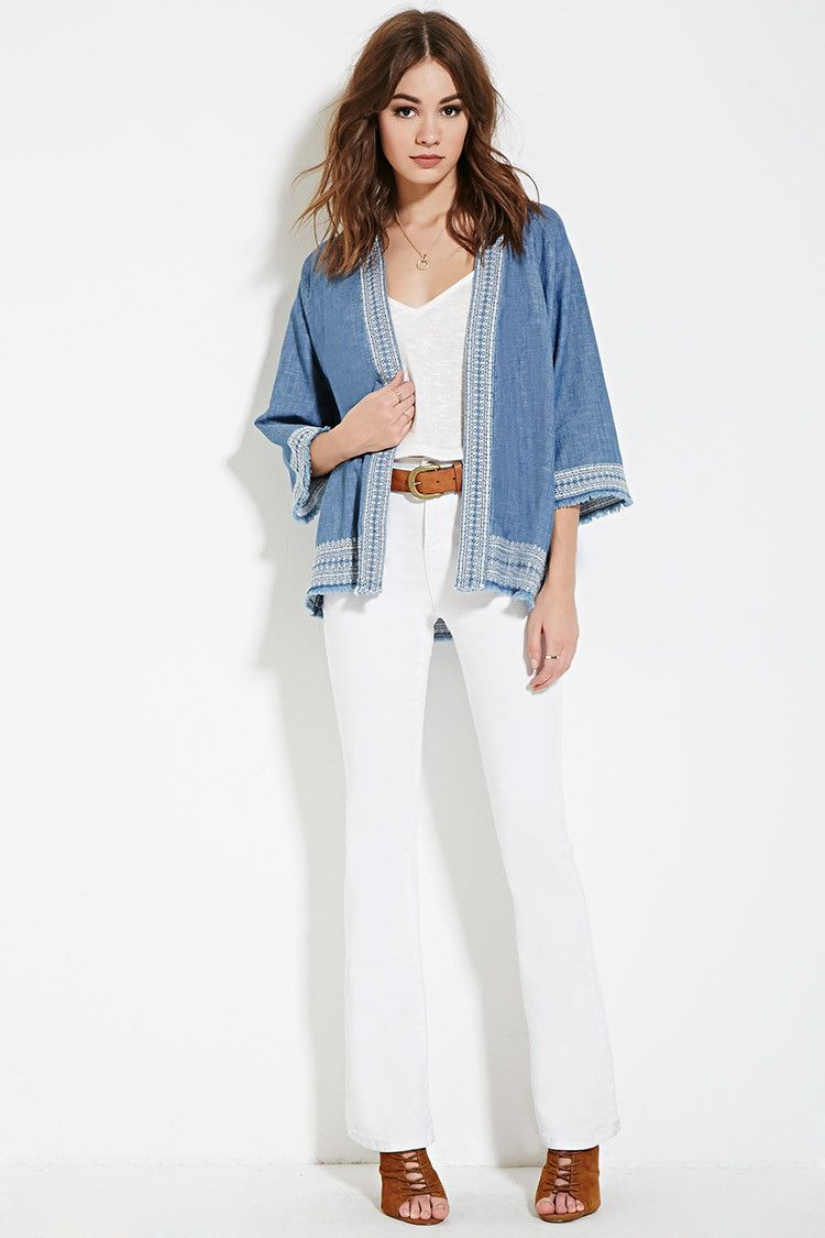 Chambray Open-Front Cardigan