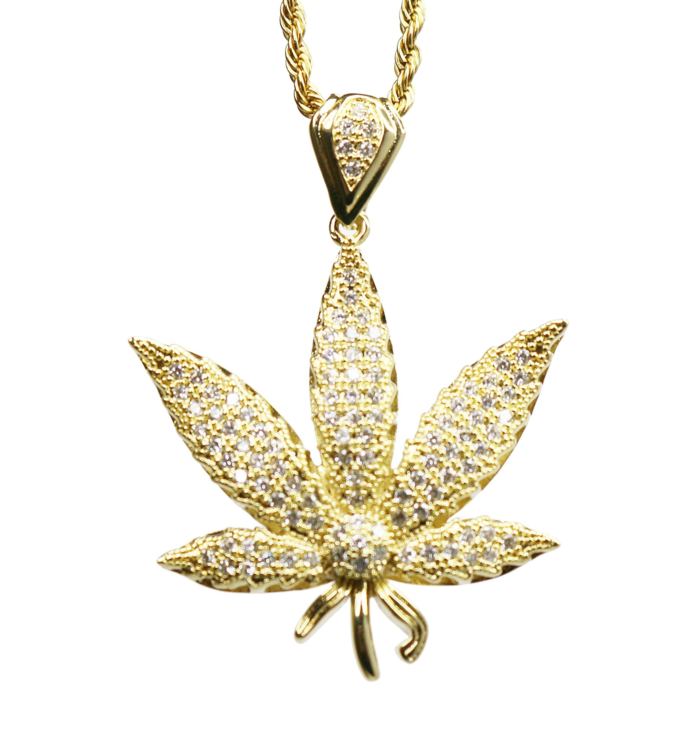 Marijuana Iced Out Gold Pot Weed Leaf Pendant 420 Charm 24 in Rope Chain Hip Hop Necklace. 14k Gold Plated. 24 Inch Rope Chain.