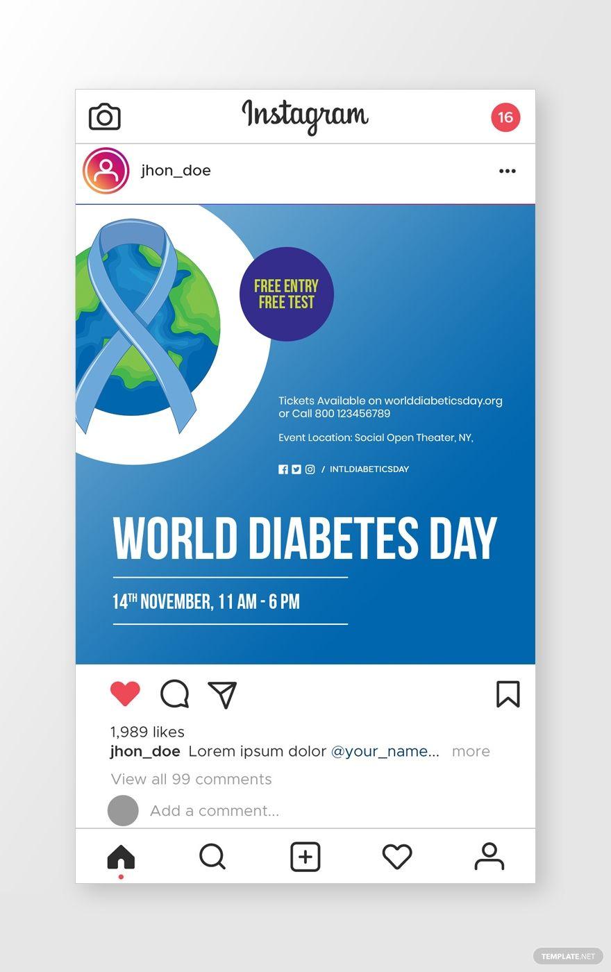 World Diabetes Day Instagram Post AD, , sponsored,