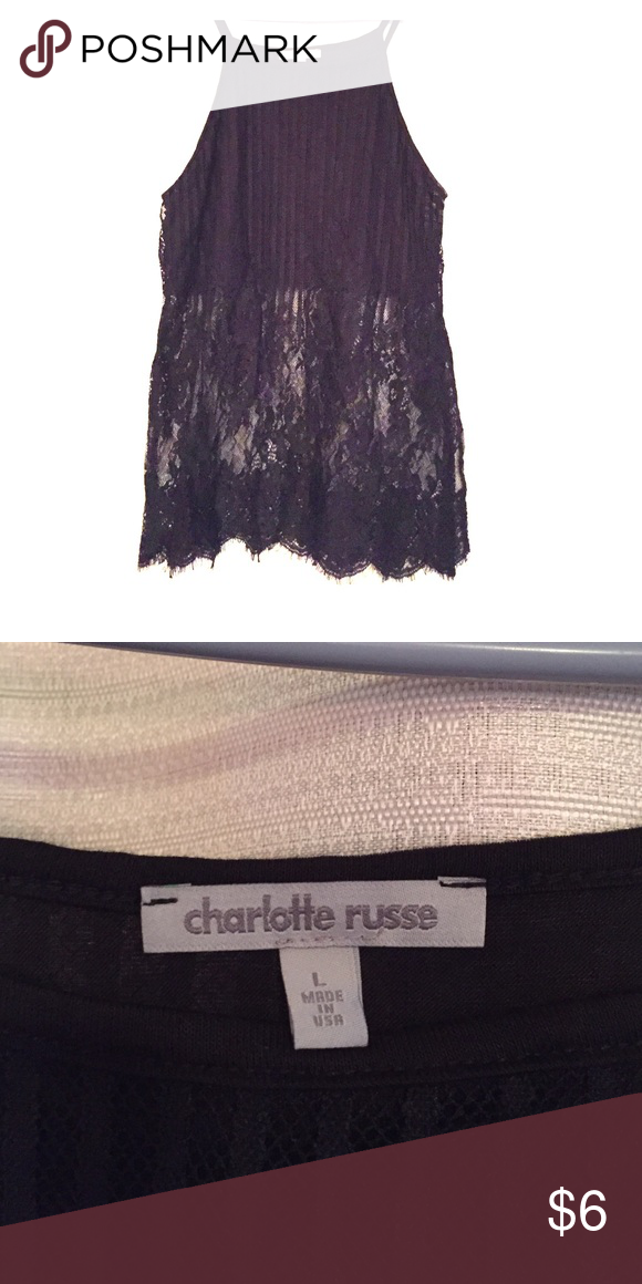 Charlotte Russe Black Tank Top Black Tank Top with lace/sheer bottom half. Never worn. Charlotte Russe Tops Tank Tops