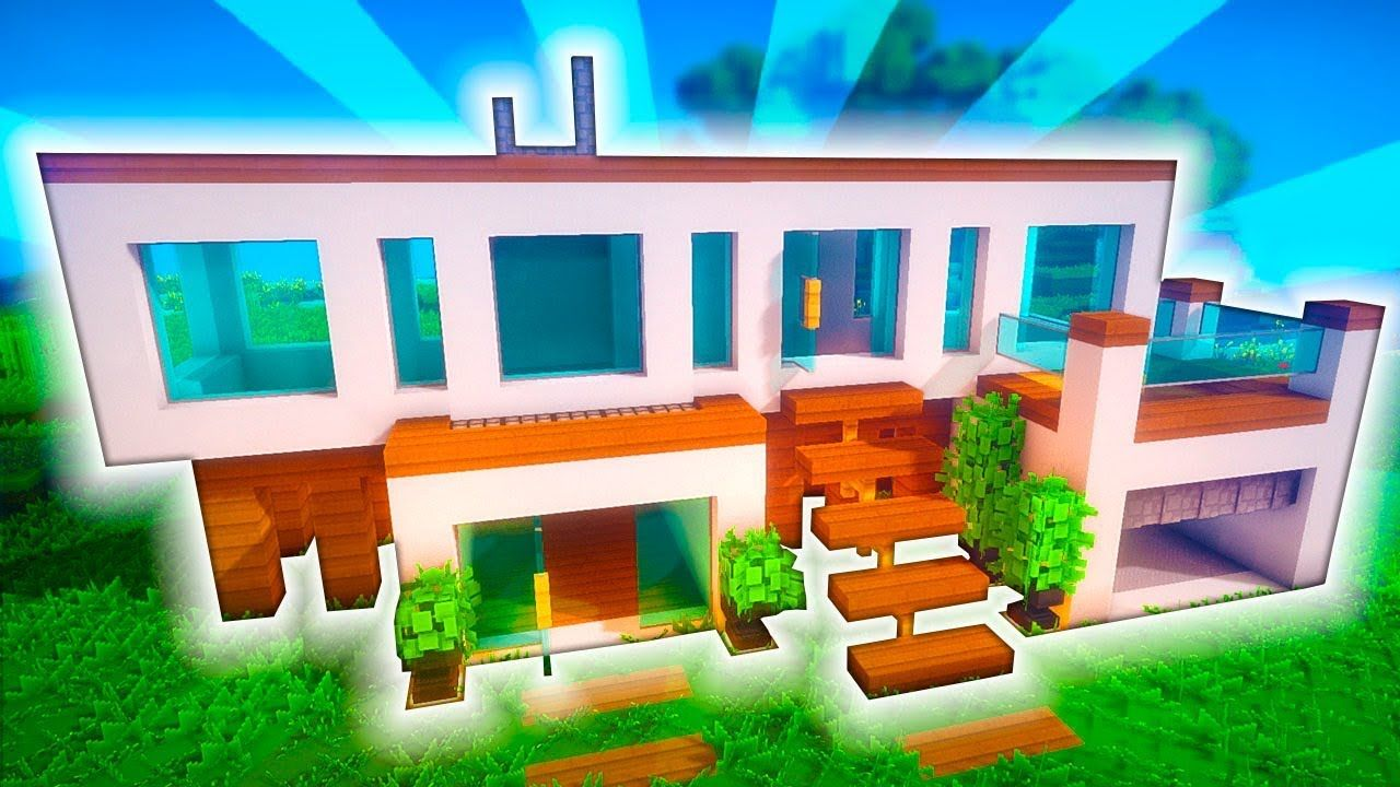 Minecraft casa moderna con oficina y parking tutorial for Casa moderna y grande en minecraft