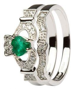 Gorgeous Irish Claddagh Wedding Ring Set Claddagh Engagement Ring Emerald Claddagh White Gold Engagement Rings