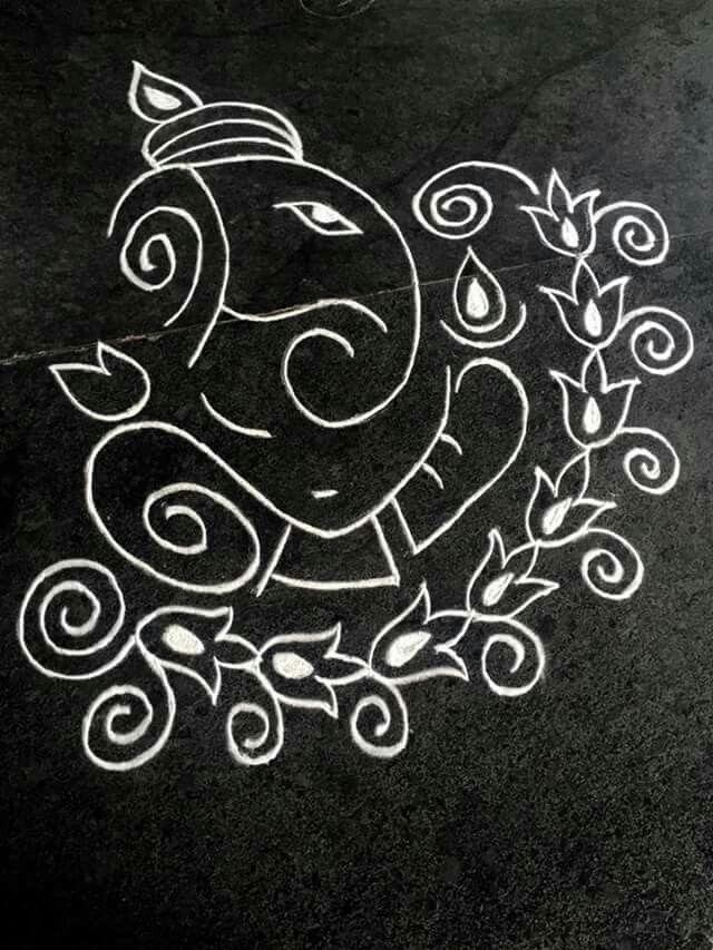 Sri ganesh rangoli....... | Sri Ganesh Art | Pinterest ...