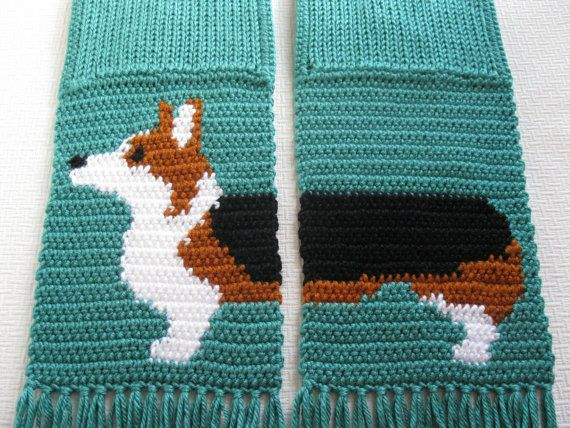 Welsh Corgi Scarf. Crochet and knit scarf with a Pembroke welsh ...