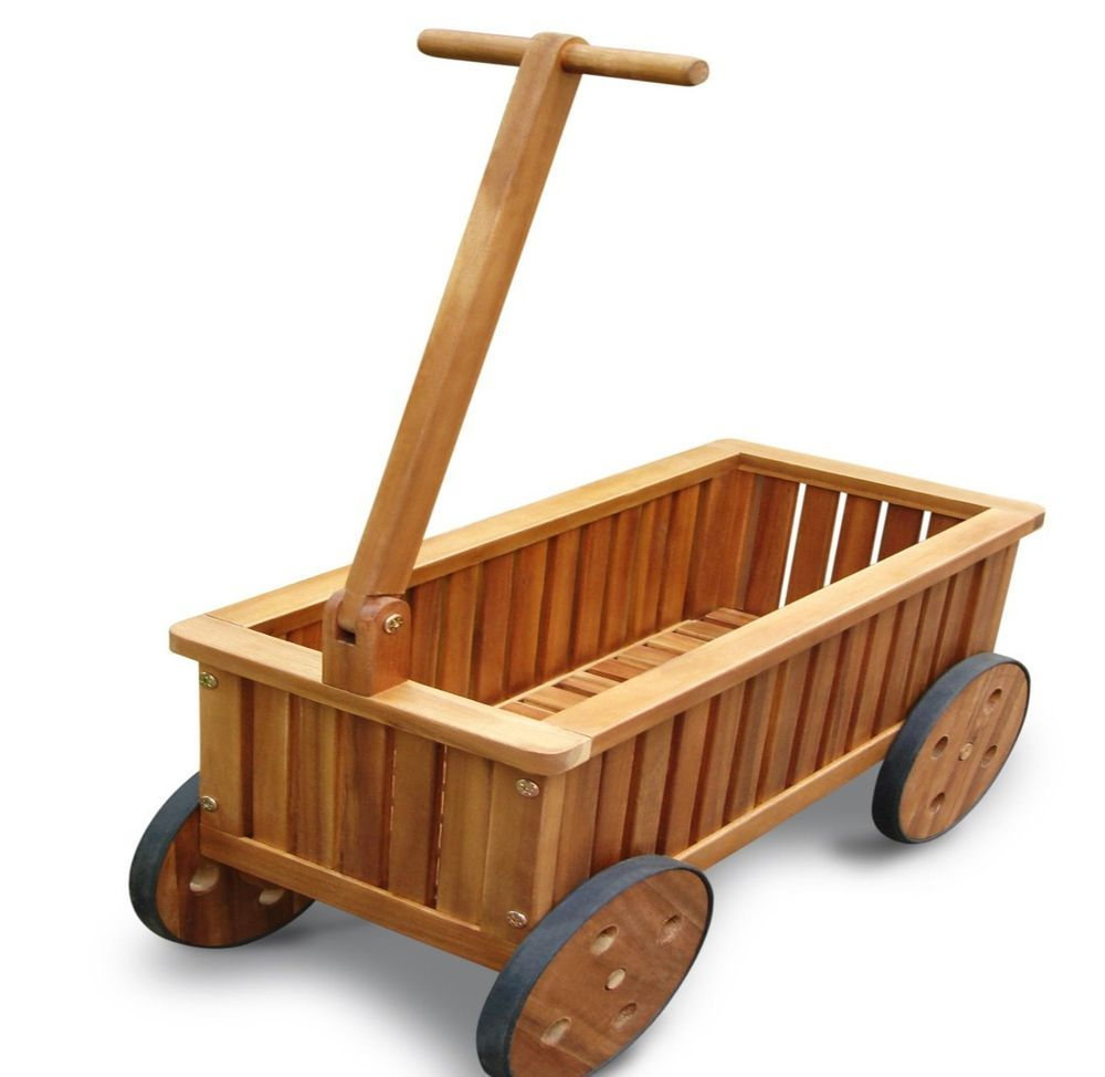 VIFAH V500 Wooden Plantation Teak Wagon Planter Garden Yard Flower Potting  Cart