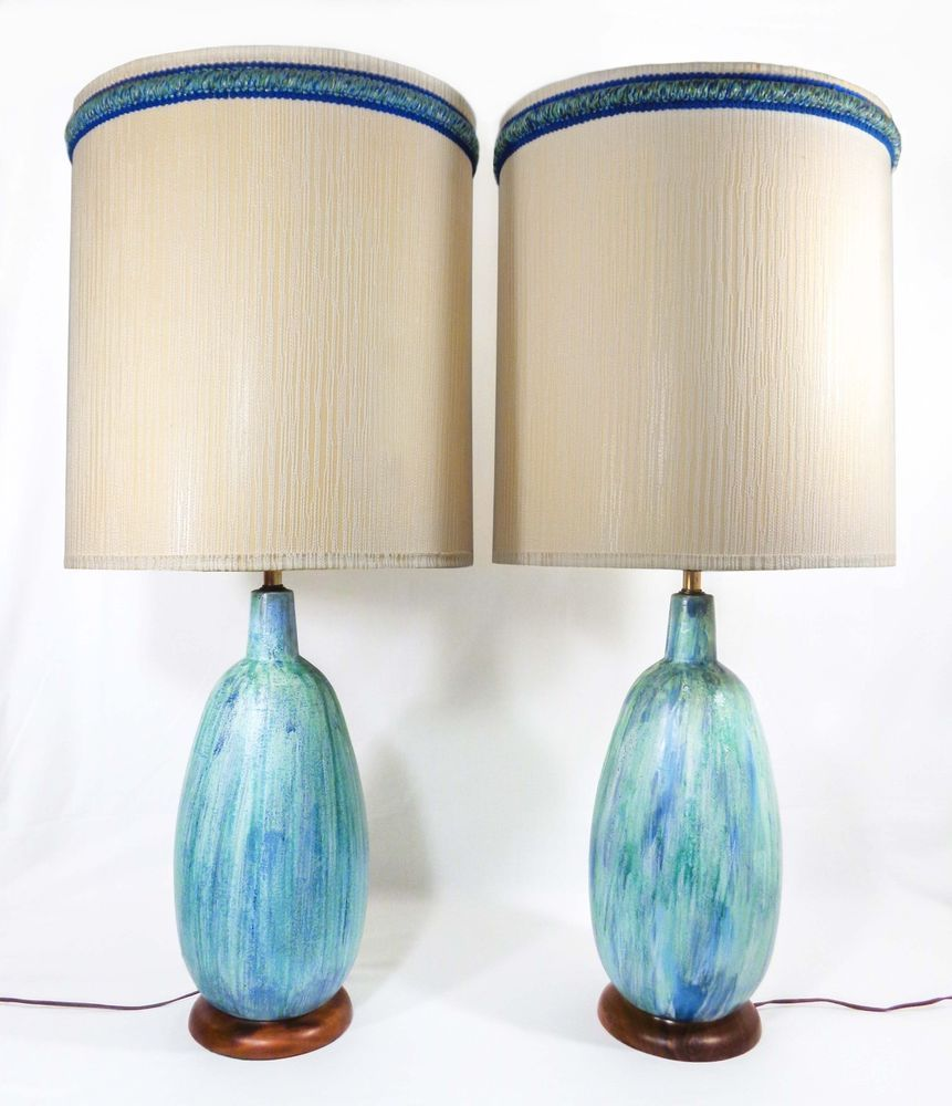 Pair Modernist Glazed Turquoise Ceramic Table Lamps W Walnut Bases