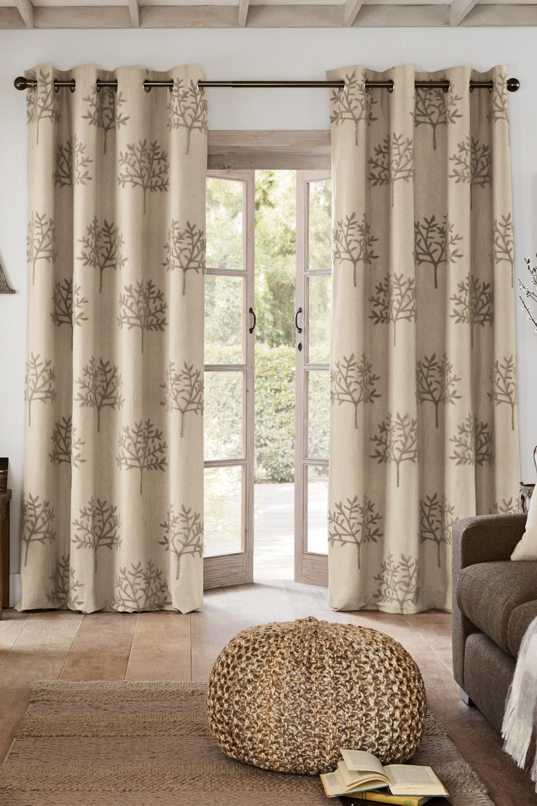 Next Living Room Buy Natural Bouclac Embroidered Tree Eyelet Curtains From The Next