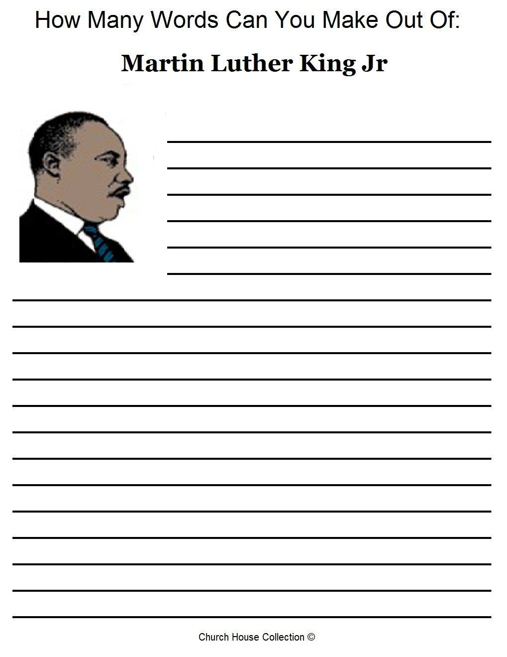 worksheet Mlk Worksheets free martin luther king jr worksheets how many words can you make out of martin