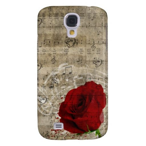 Beautiful red rose music notes swirl faded piano samsung galaxy s4 case