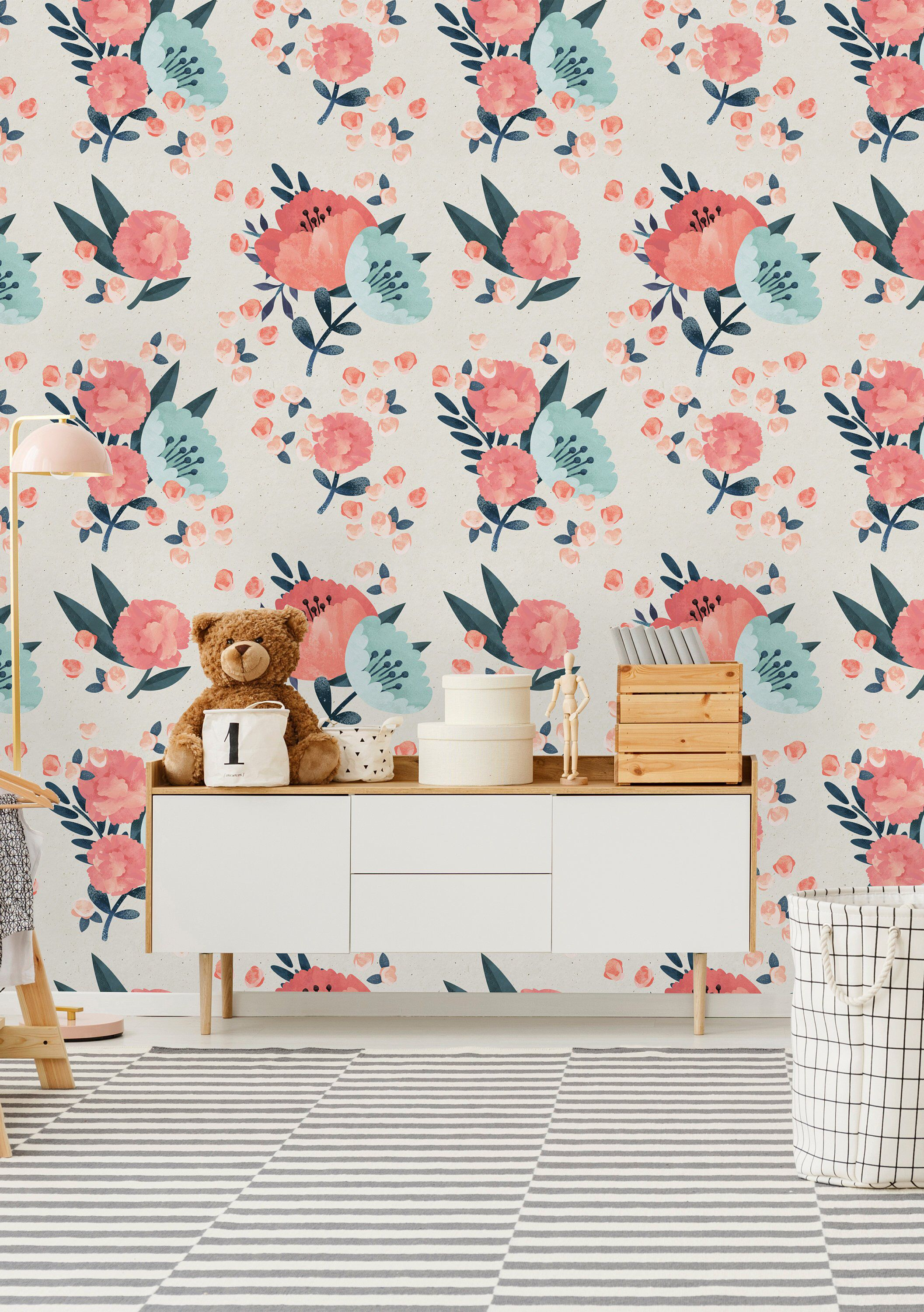 Removable Wallpaper Peel And Stick Wallpaper Self Adhesive Etsy Wallpaper Pink And Blue Removable Wallpaper Pink Wallpaper Bedroom