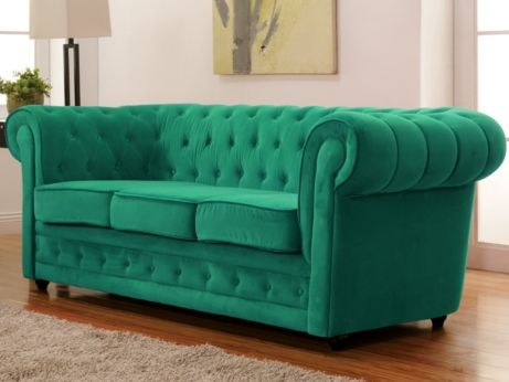 Chesterfield sofa samt  Chesterfield 3-Sitzer-Sofa Samt Imen - Smaragdgrün | Arbeitszimmer ...