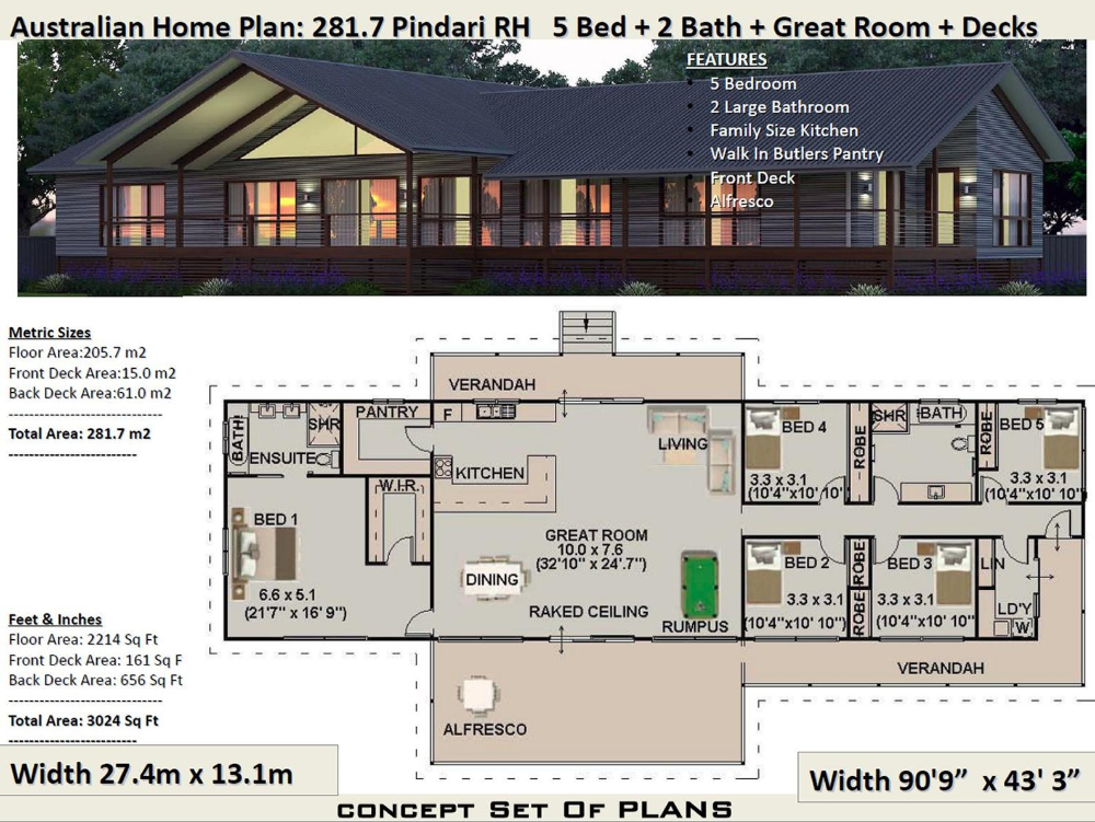 281 M2 3024 Sq Foot 5 Bedroom House Plan 281 7 Pindari Etsy In 2020 House Plans Australia House Plans For Sale Affordable House Plans