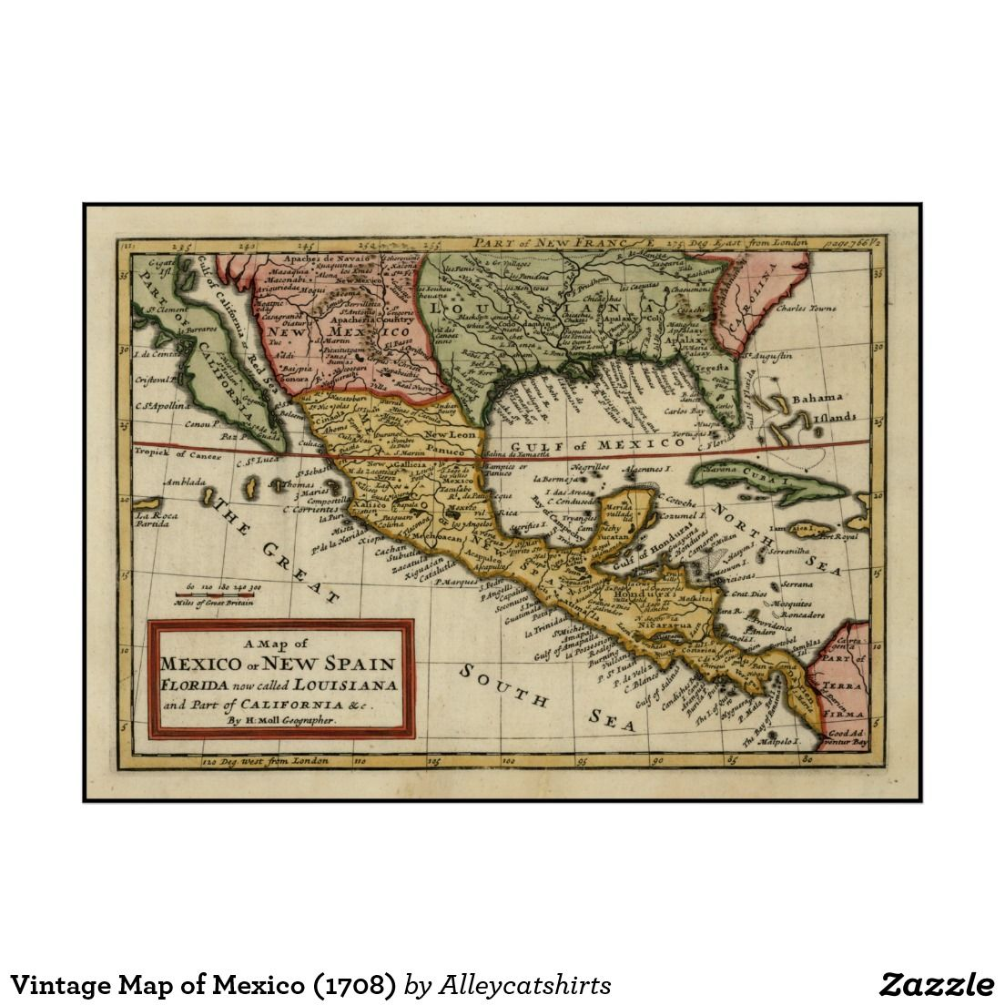 vintage map of mexico 1708 poster vintage maps