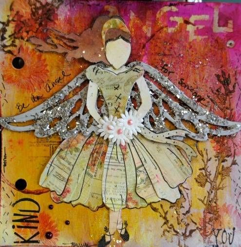 My Angel for my art journal. I used Gabrielle Pollacco's template for the girl