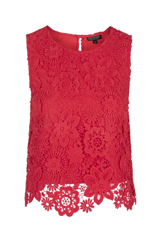 3d Lace Crochet Shell Top New In Crochet Lace Tank Top Red Lace Shirt Crochet Lace Top