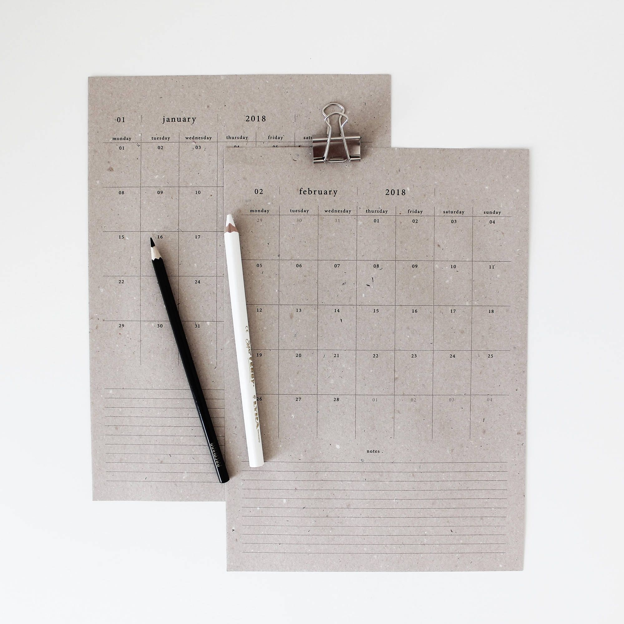 2018 recycled medium recycled paper calendar with notes 2018