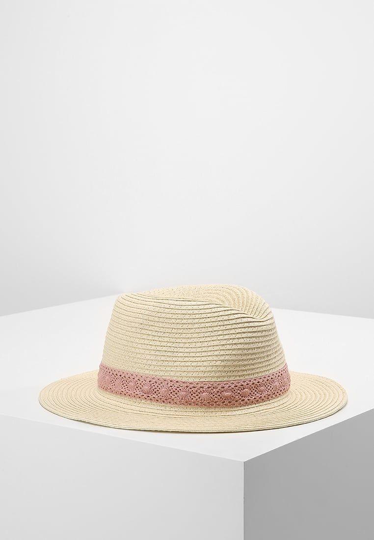 Cappello di paglia con fascia ricamata rosa Pieces  b52b817d7c64