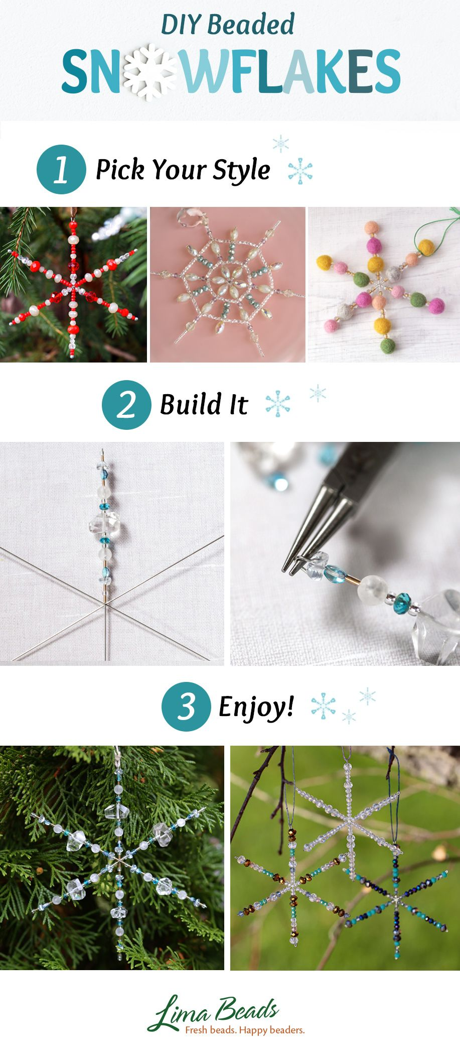 Diy Beaded Snowflakes Diy Christmas Decorations Easy Christmas Crafts Diy Christmas Ornaments