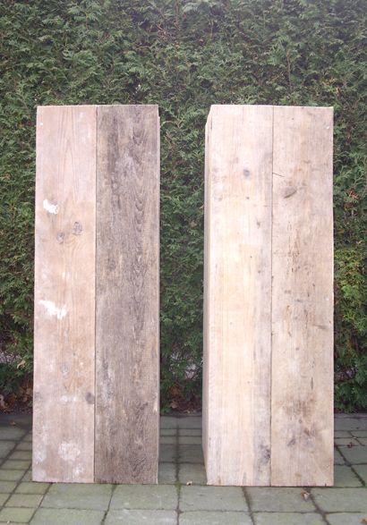 Zuilen van steigerhout zuilen pinterest kubussen tuin idee n en producten - Decoratie van een terras ...