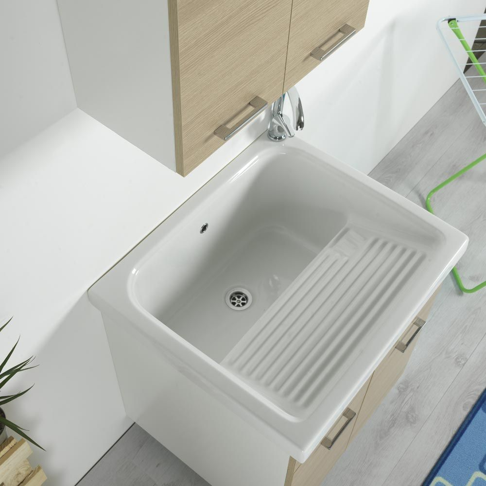 Vasca lavapanni 75x65 in ceramica con mobile Rodano Rovere