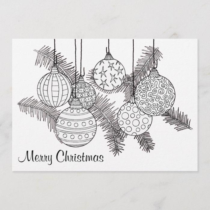 Christmas Ornaments Holiday Card To Color Zazzle Com Christmas Card Design Christmas Drawing Easy Christmas Drawings