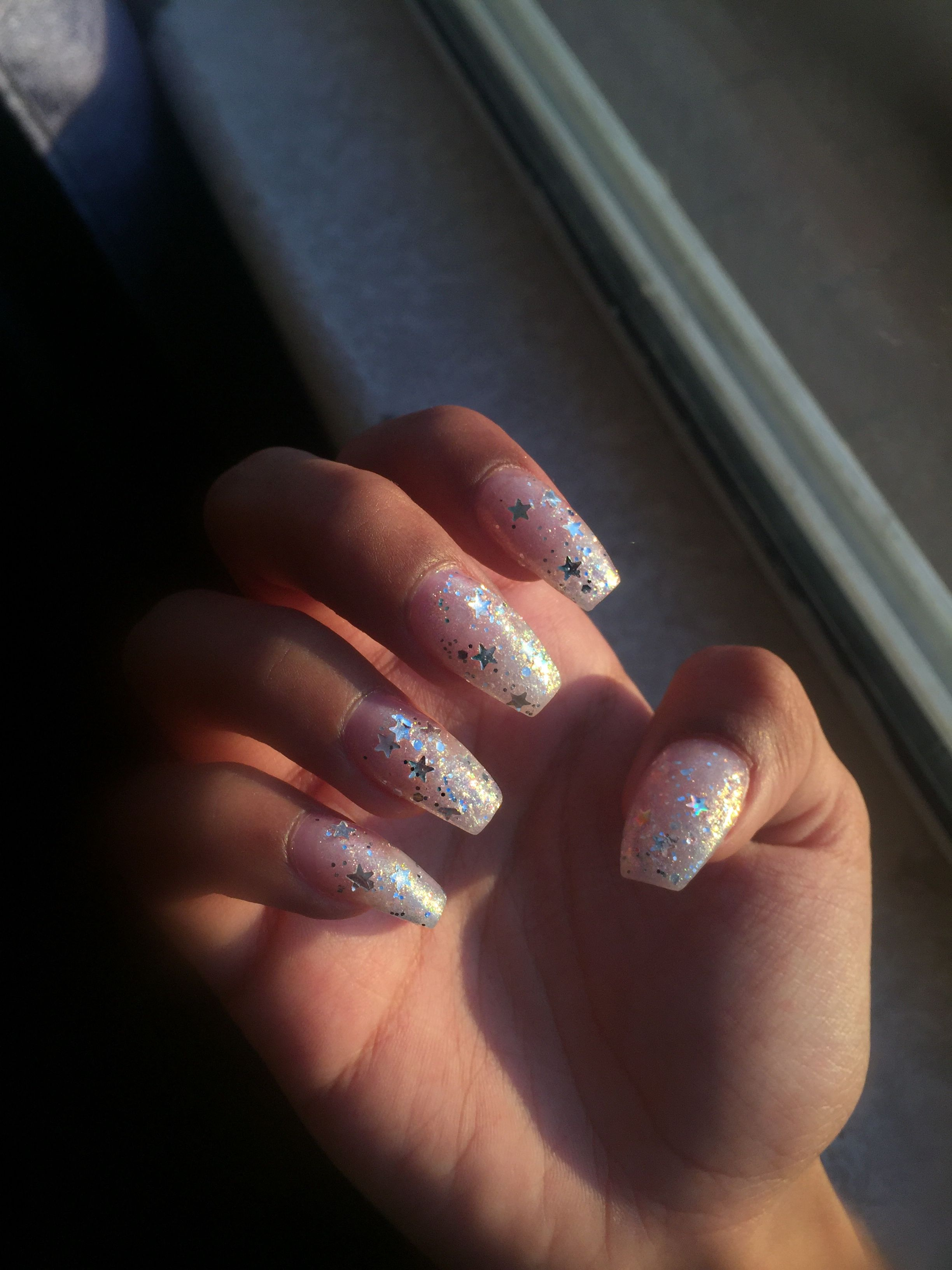 Glittery coffin nails with stars | Nails | Pinterest | Coffin nails