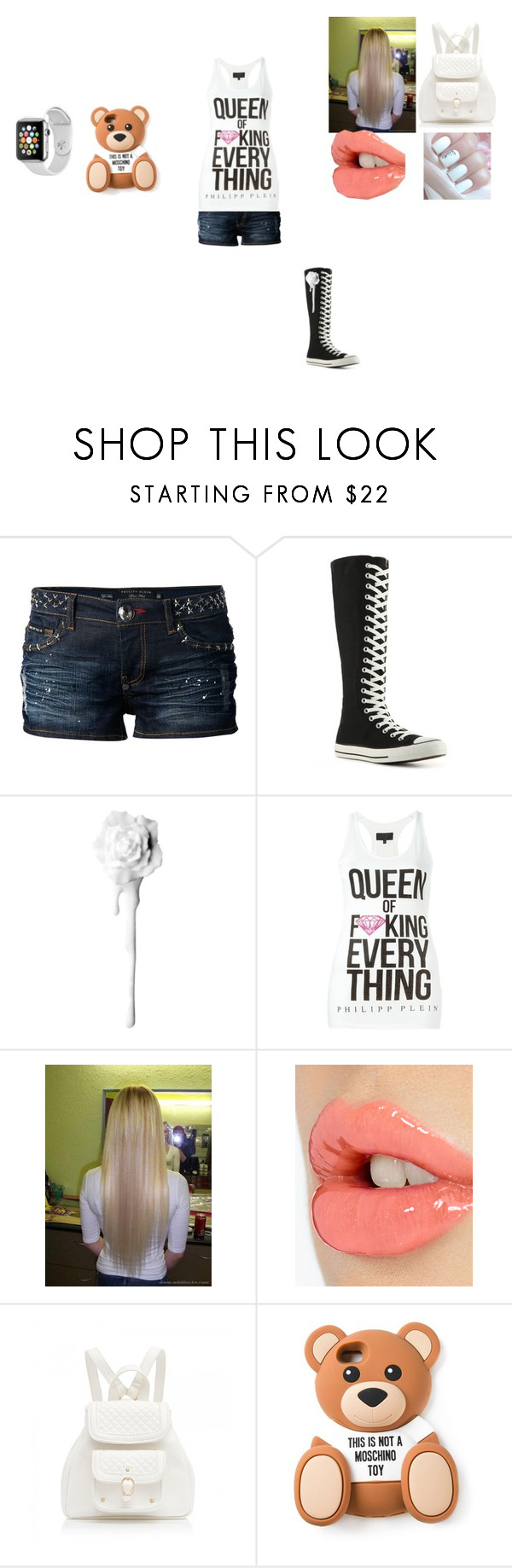 """Queen Of F*cking Everything #2"" by theultrafighter ❤ liked on Polyvore featuring mode, Philipp Plein, Converse, Samsung, Charlotte Tilbury, Forever New, Moschino, white, queen et PhilippPlein"