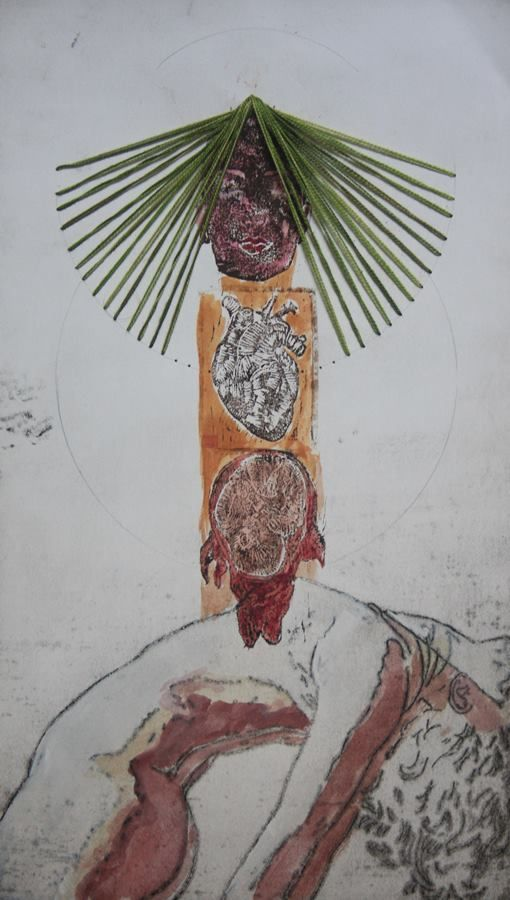 Vitor Novato - Vida  Gravura em metal, xilogravura, guache e bordado sobre papel. 19x34cm