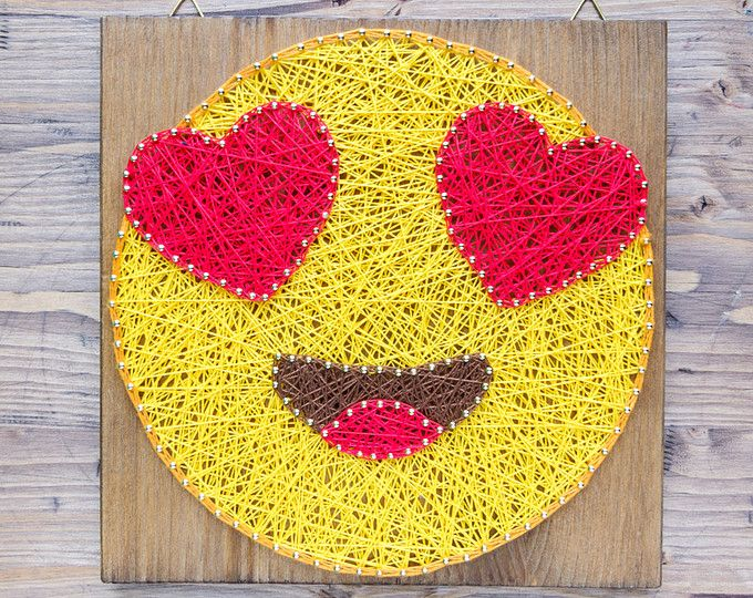 Modern Emoji String Art Wall Decor, yellow heart eye in love emoji ...