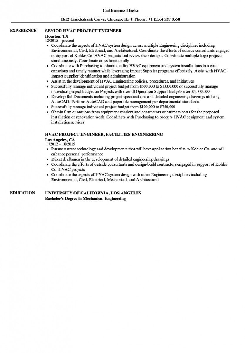 14 Hvac Maintenance Engineer Resume