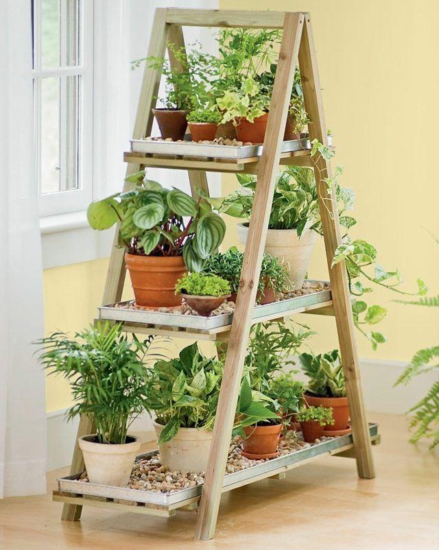 Pflanztopfe Upcycling Leiter Holz Regal Haus Wintergarten Garten
