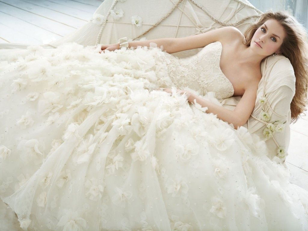 jim-hjelm-bridal-chiffon-organza-floral-embroidered-ball-gown-strapless-lace-curved-drop-chapel-train wedding dress trend 2012 strapless wedding dress wedding party blog
