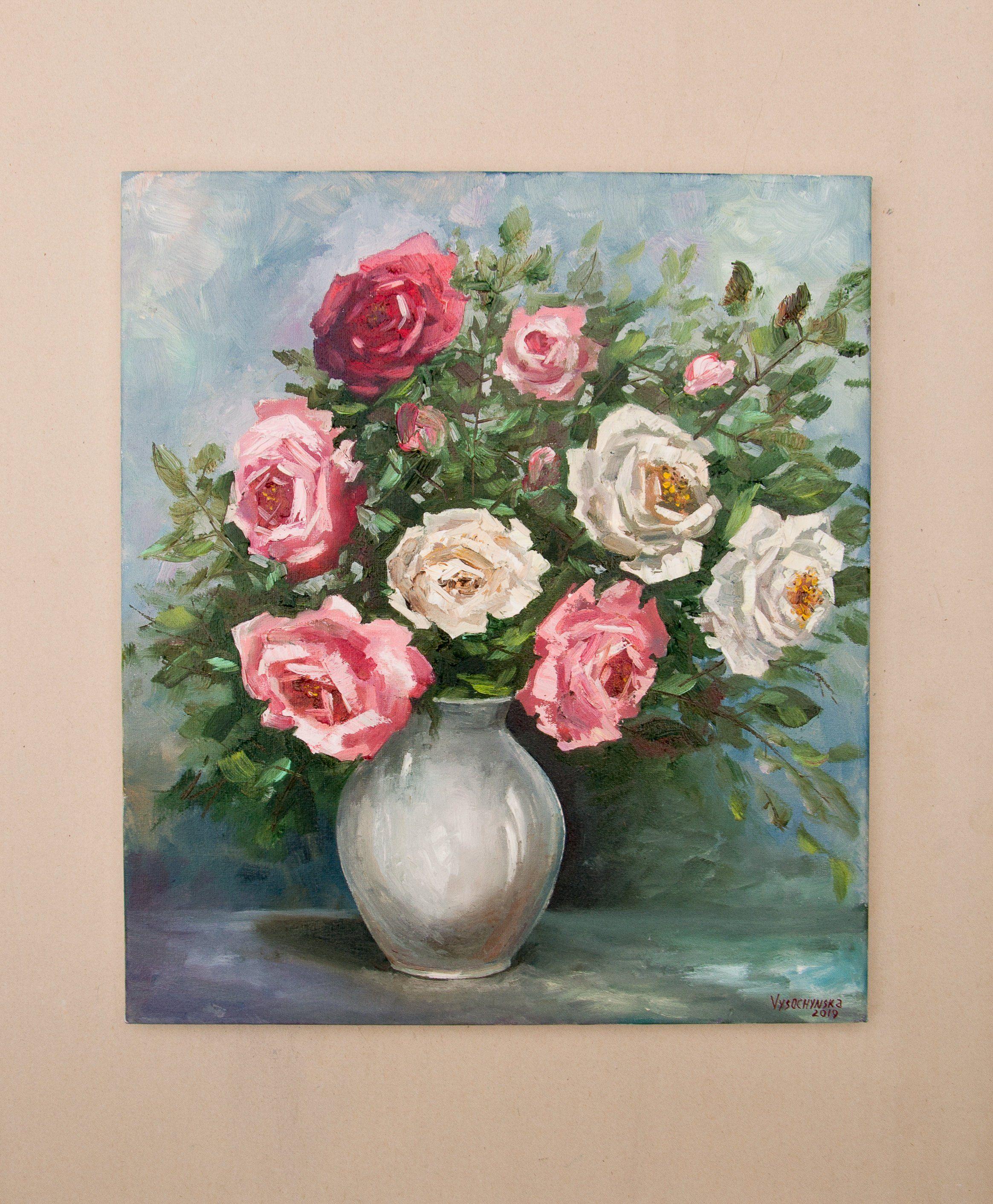 2020的Roses Painting Original Oil Painting Flowers Painting
