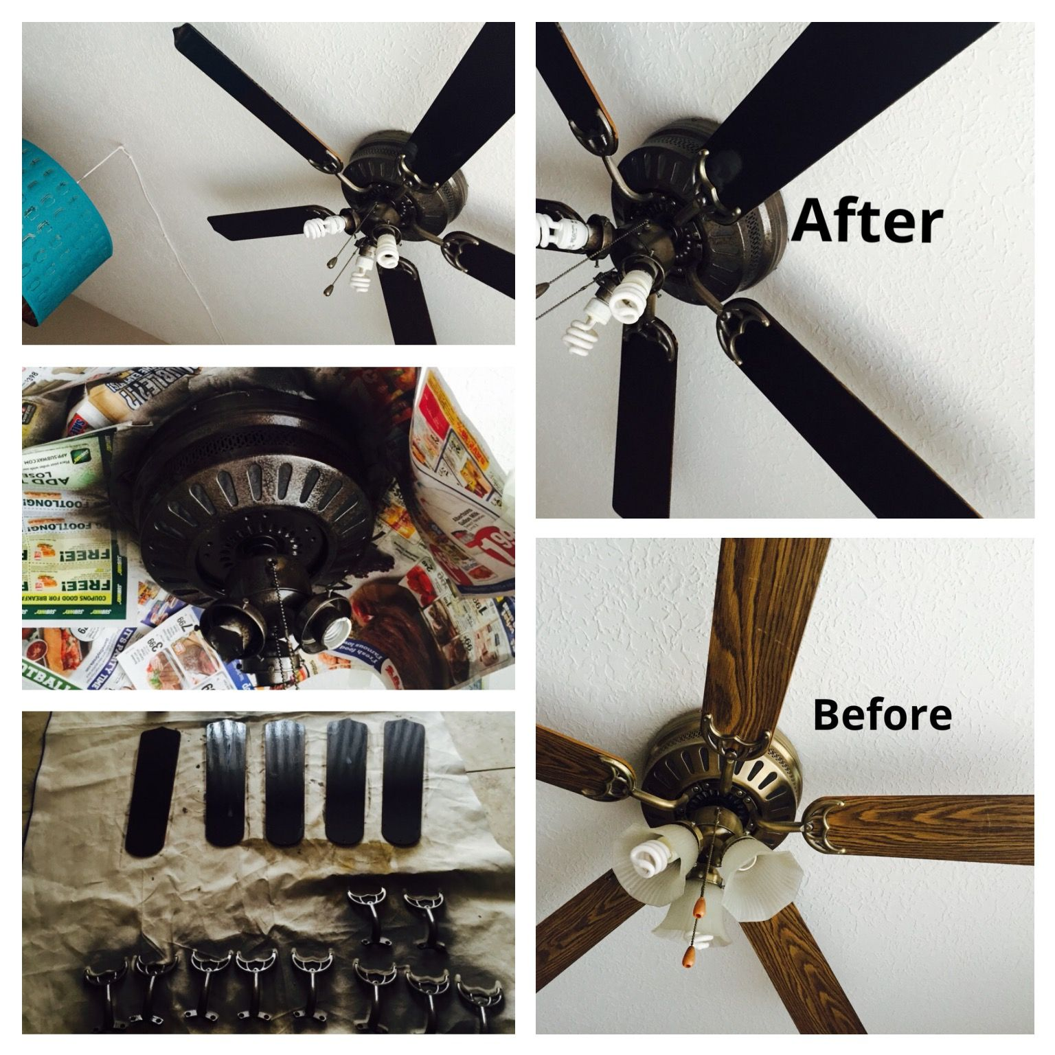 Ceiling Fan Facelift Metal Sprayed With Rustoleum Hammered Amber