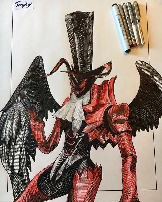 Line Drawing Of Arsene I Did For My Drawing Class Persona5 My Drawings Persona 5 Persona