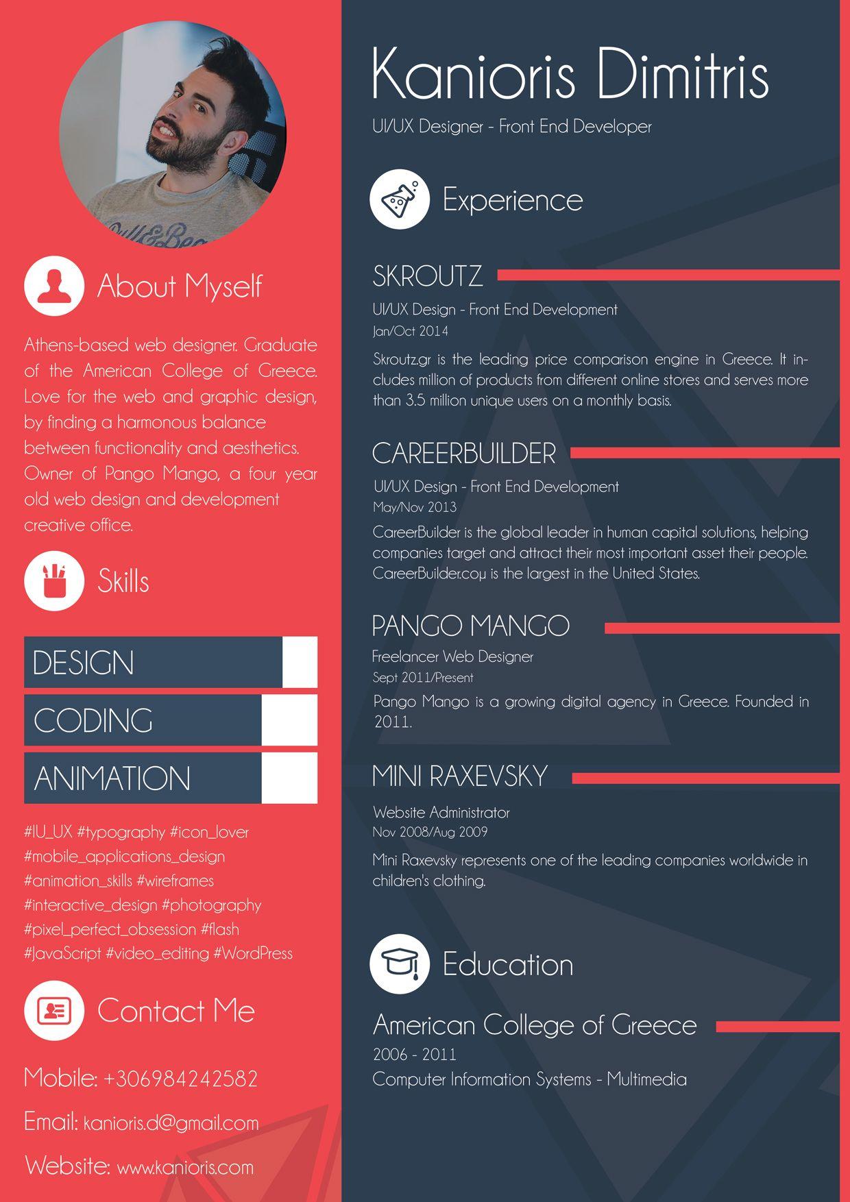 Resume Designer Kanioris_Dimitris_Cv 1240×1754  Resumé  Pinterest  Design