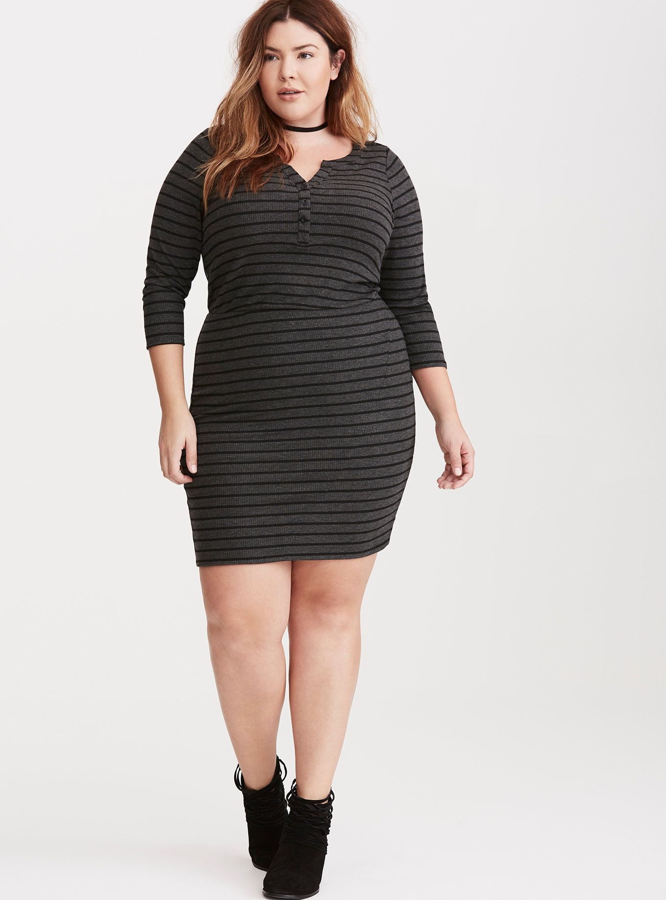Dress size 24 torrid dress 24 torrid black and white draped v neck - Striped Henley Ribbed Knit Dress Torrid
