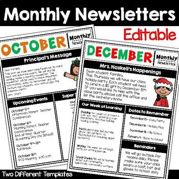 Monthly Newsletter Editable Templates  Monthly Newsletter