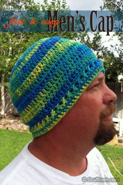 Men S Fast Amp Easy Cap Crochet Hats Crochet Mens Hat