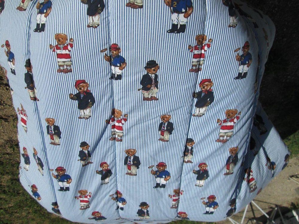 Vintage Ralph Lauren Comforter Bedding Bears Full Queen Stripe Polo Bears Usa Ralphlauren