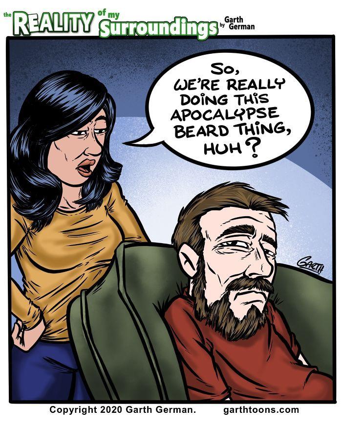 Apocalypse Beard in 2020 My wife and kids, Daily cartoon