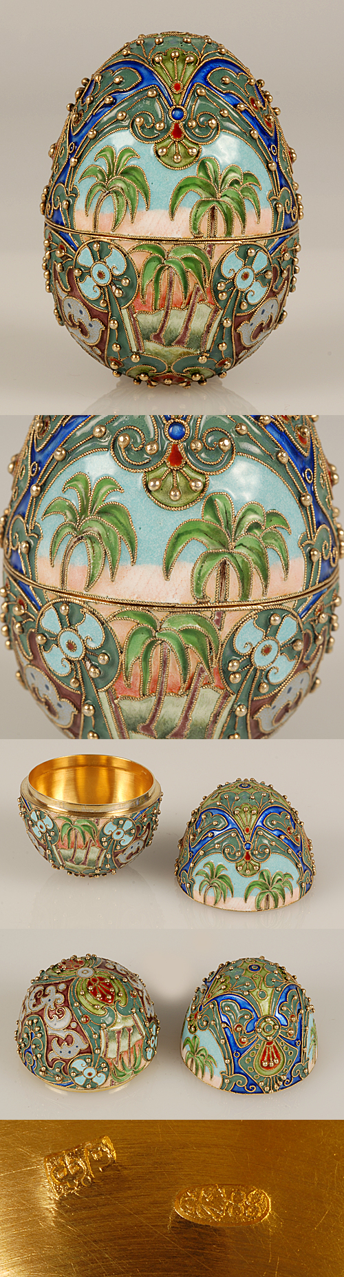 An exceptional Russian gilded silver and shaded ccloisonne enamel Easter egg, made by Feodor Ruckert, Moscow, circa 1896-1908. Both haves are very uniquely decorated with shaded cloisonne and translucent enamel palm trees and stylized foliage outlined in gilded silver stippling.
