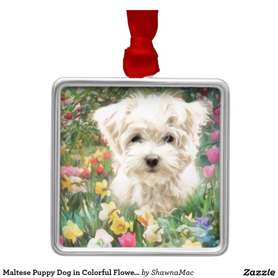 Maltese christmas ornaments - Maltese Puppy Dog In Colorful Flowers Metal Ornament
