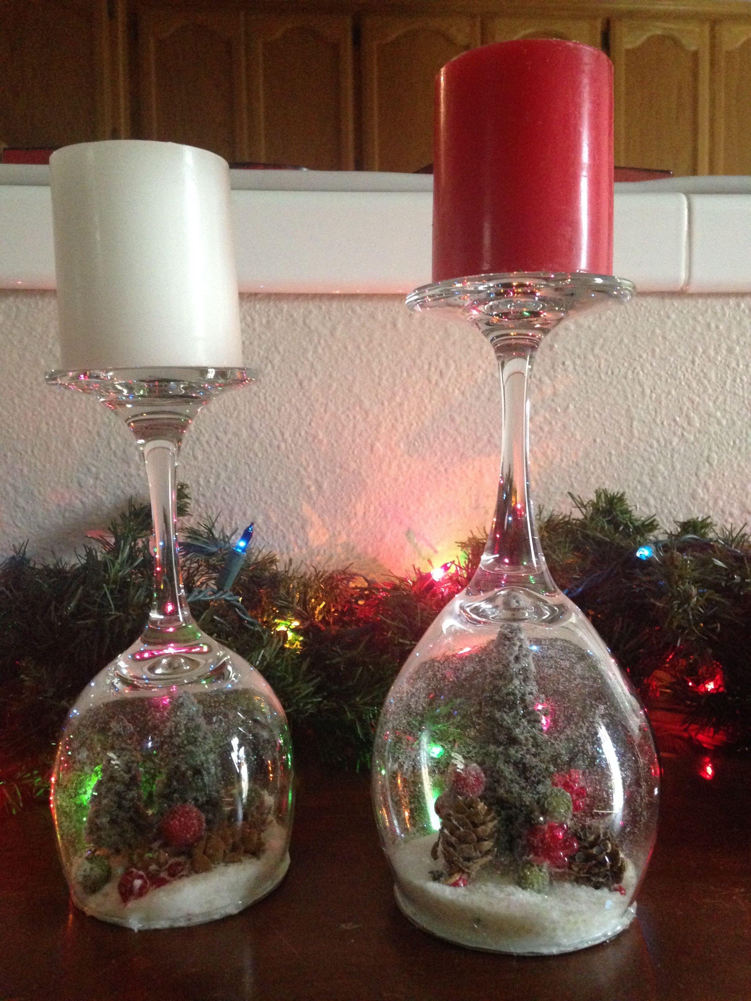 Diy Wine Glass Snow Globes Christmas Candles Diy Wine Glass