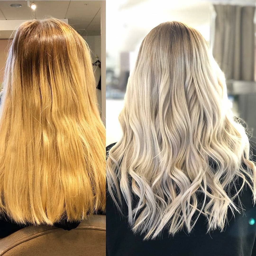 Makeover by Isabelle @rapunzel.stockholm.  Here we used Nail Hair Premium in Light Blond #60 and Natural Ash Blond Mix #P20/60  #rapunzelofsweden