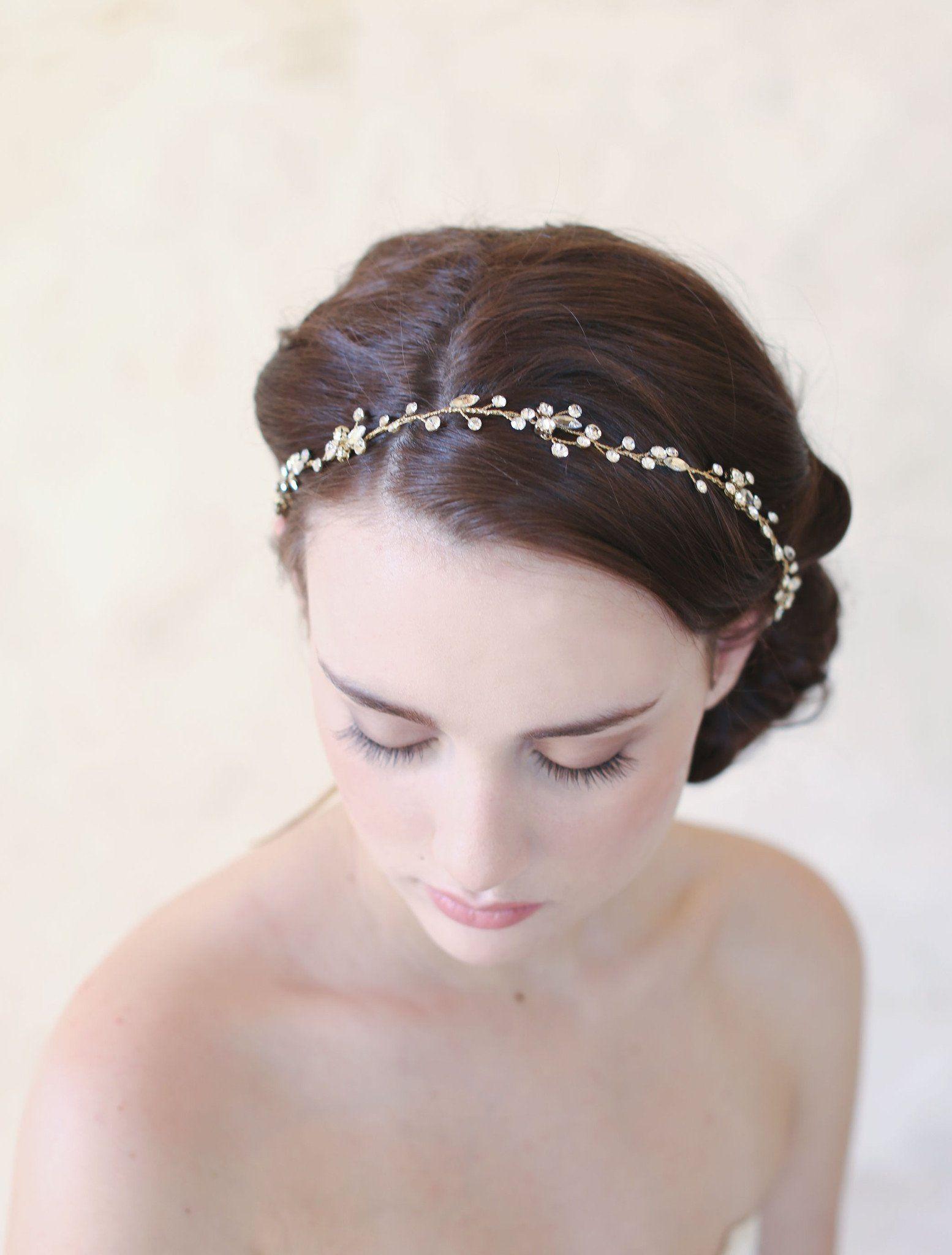 simple crystal hair vine - style #545   wedding hair